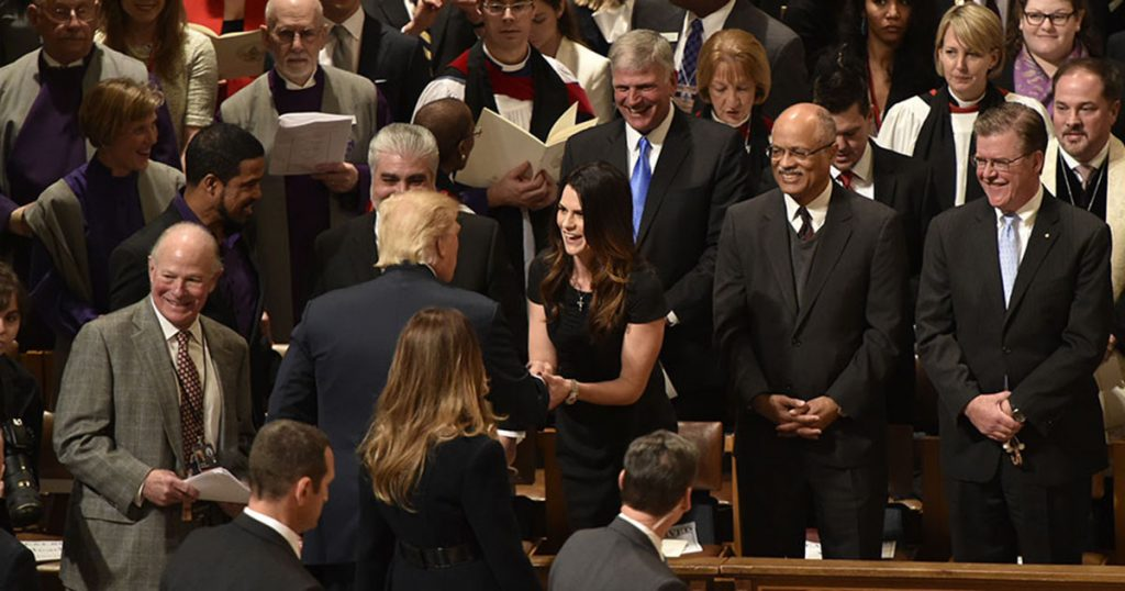 Cissie Graham shakes hands with President Donald Trump