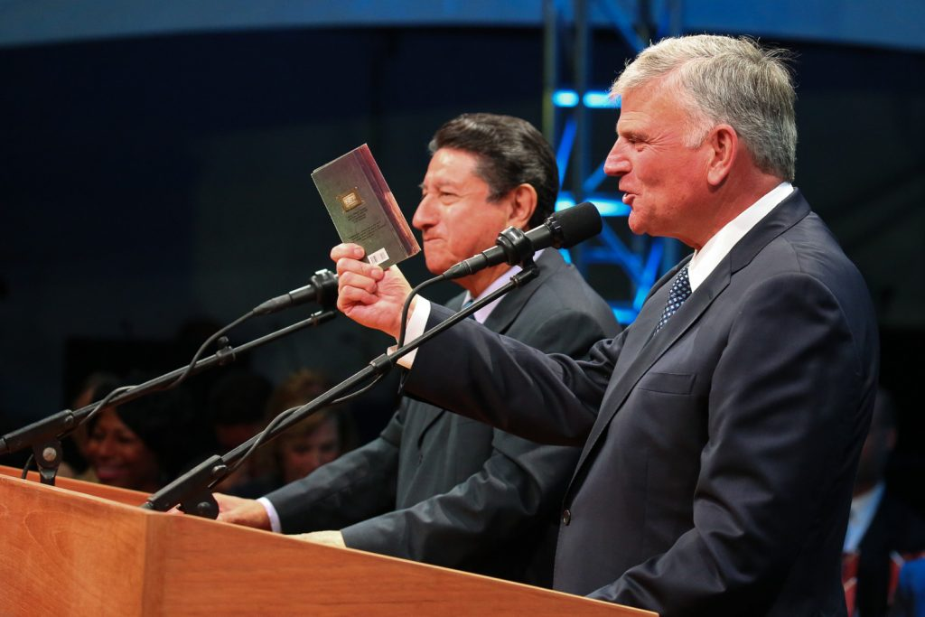 Franklin Graham and Galo Vasquez, Director of Latin American Festivals for BGEA