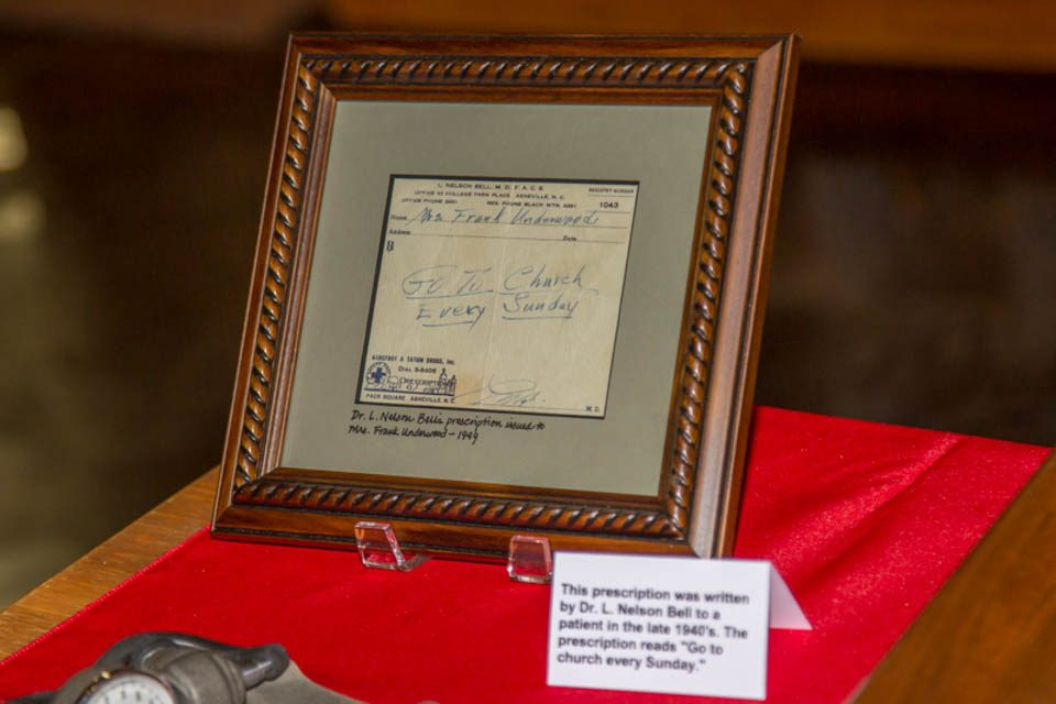 Framed picture of prescription from Dr. L. Nelson Bell, Ruth Bell Graham's father