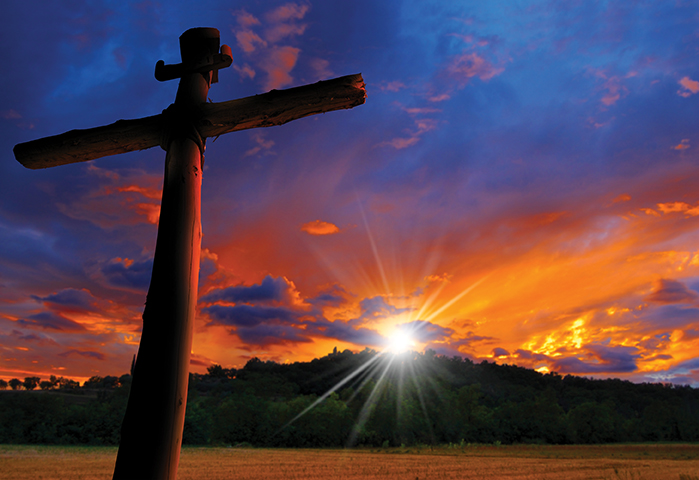 cross at sunrise