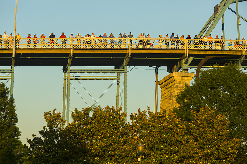 Crowd on bridge