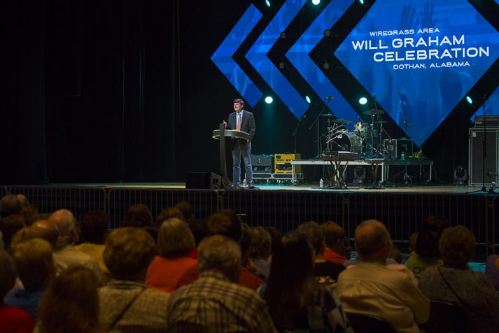 Will Graham preaching at Wiregrass Area Celebration