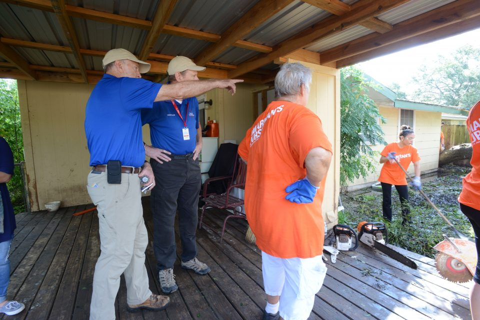 Chaplains with Samaritan's Purse volunteers at a home