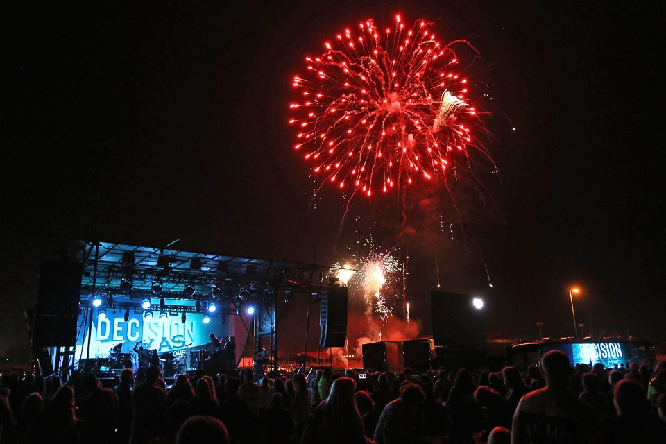 Fireworks over Decision Texas stage