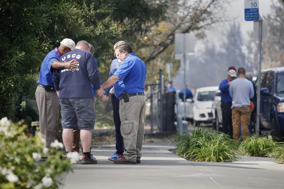 Billy Graham Rapid Response Team chaplains pray with people affected by the California wildfires
