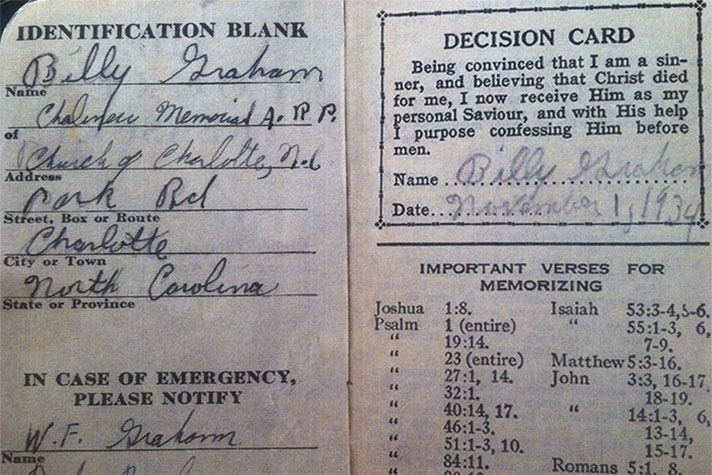 Billy Graham's decision card from Nov. 1, 1934