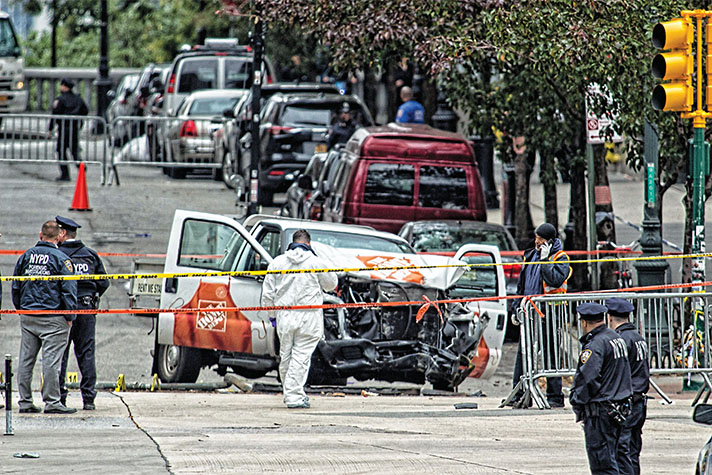 Picture of wrecked truck used in attack