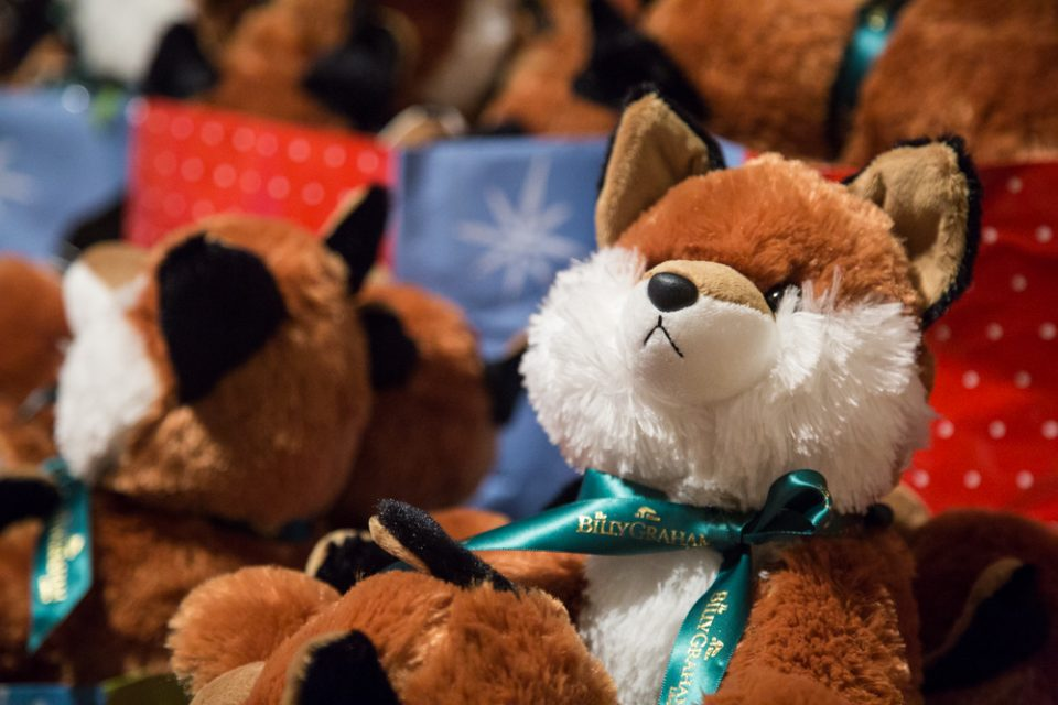 "The theme was ""Campy Christmas"" and each child was given a plush fox"
