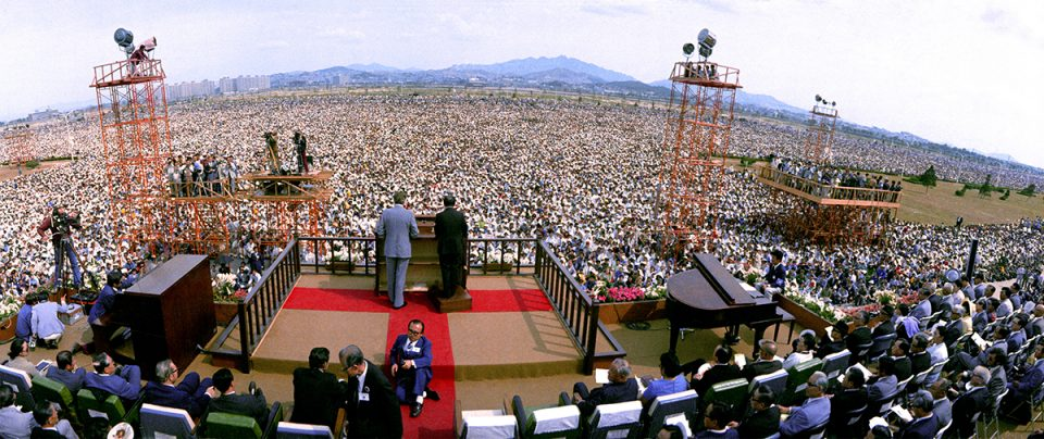 Billy Graham preaching to over a million people in South Korea