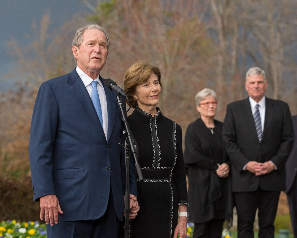 Jane and Franklin Graham, former President George Bush and former First Lady Laura Bush