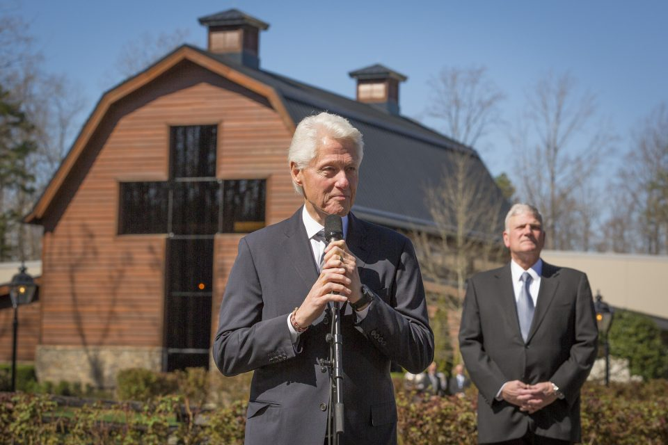 President Clinton with microphone