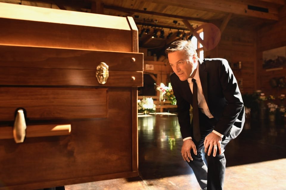 Michael W. Smith studies Billy Graham's casket