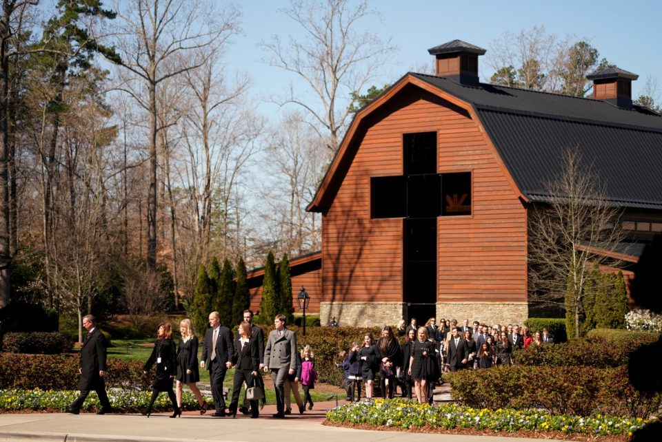 Graham family leaving Billy Graham Library for funeral service