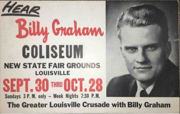 Picture of poster advertising Billy Graham's 1956 Crusade