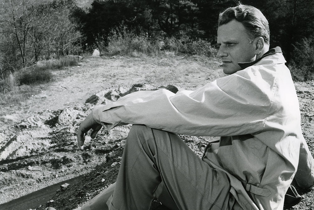 Billy Graham on mountain at Forest Home in California